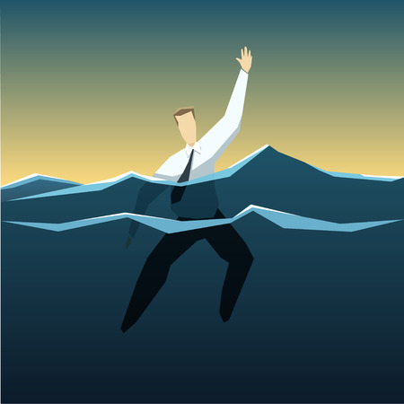 help: Businessman is drowning in the deep ocean of problems.  Illustration