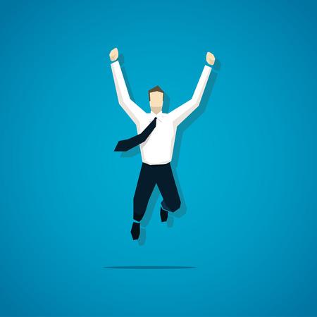 LIDER: Vector alegre hombre de negocios est� saltando aislado. Vectores