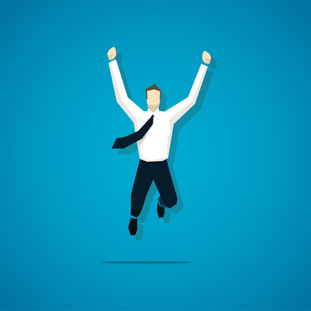 joy: Vector joyful businessman is jumping isolated.