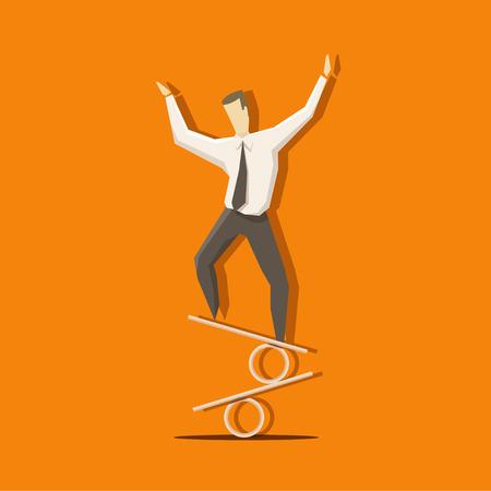 crisis economica: El hombre de negocios es mantener el equilibrio en el signo por ciento como un actor de circo.