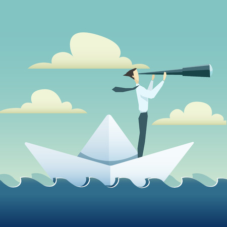 Businessman is sailing on paper boat in ocean.
