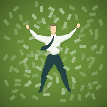 お金の山で横になっているビジネスマン。EPS 10 ファイル