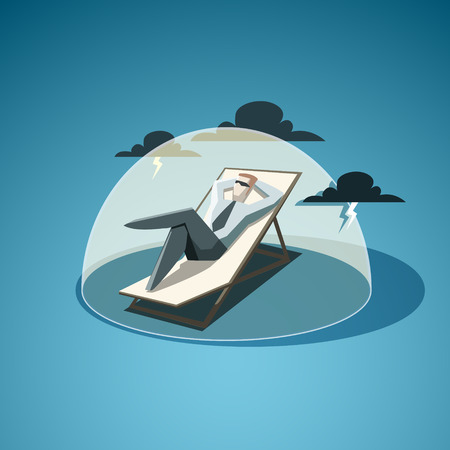 Businessman man under the dome, which protects him from accidents. EPS 10 file Stock Illustratie