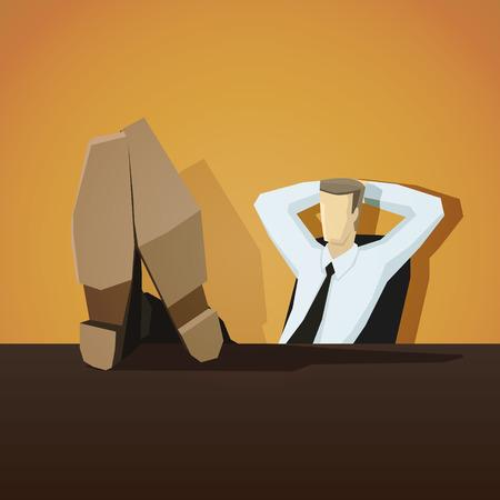 pies: Hombre de negocios sentado con los pies sobre la mesa. 10 EPS archivo. Vectores