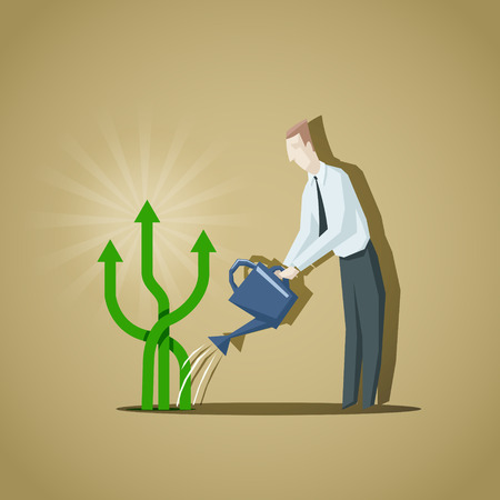 raising cans: Businessman trying to grow up a business indicators. Raise of business indicators.EPS 10 file Illustration