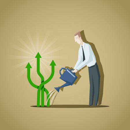 branch to grow up: Hombre de negocios tratando de crecer a los indicadores de negocio. Levante de indicators.EPS negocios 10 archivo