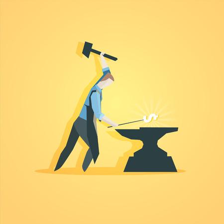 making money: Business concept - Worker making money. EPS 10 file Illustration