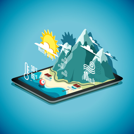 weather map: Vector isometric concept of weather forecast program on tablet PC. EPS 10 file.