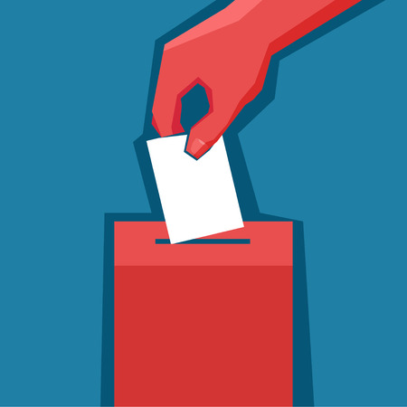 Hand puts ballot in the ballot box isolated. Vector poster Ilustração