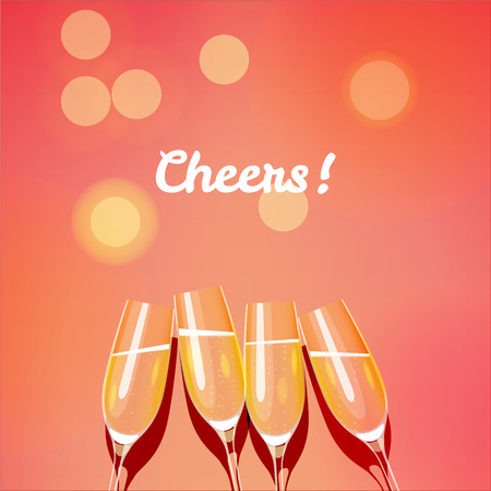 Holiday vector template with group of champagne glasses making a toast to the cheers. Cheers glasses. EPS 10 file.