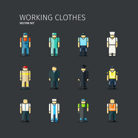 alumni: Vector set of workers in coveralls in flat design. EPS 10 file