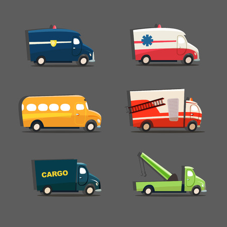 Vector set of urban vehicles featuring police car, ambulance, school bus, fire truck, tow truck and cargo truck. EPS 10 file