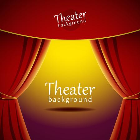 Vector achtergrond met theater podium en rood gordijn. EPS-10-bestand. Stock Illustratie