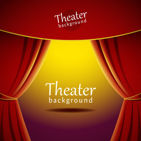 red stage curtain: Vector background with theater stage and red curtain. EPS 10 file.