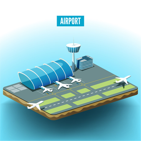 baggage: Vector isometric illustration of the airport with airplanes.