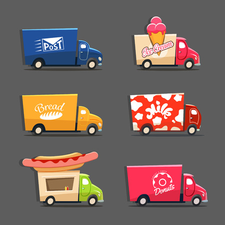 Vector set of trucks with inscriptions featuring ice cream truck, post car, milk truck, bread truck, hot dog truck and sweets and donut car. EPS 10 file