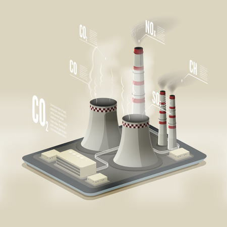 pollution: Vector isometric illustration of a plant polluting air. Environmental pollution infographic.. EPS 10 file.