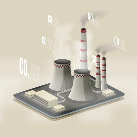 Vector isometrische illustratie van een plant vervuilende lucht. Milieu infographic vervuiling .. EPS 10-bestand. Stock Illustratie