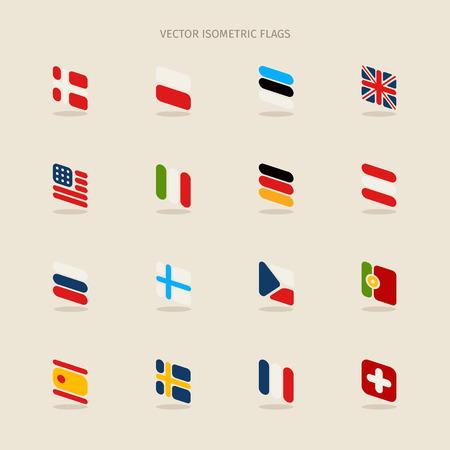 czech switzerland: Vector bandiere isometriche con angoli arrotondati in stile semplice. EPS 10 File Vettoriali