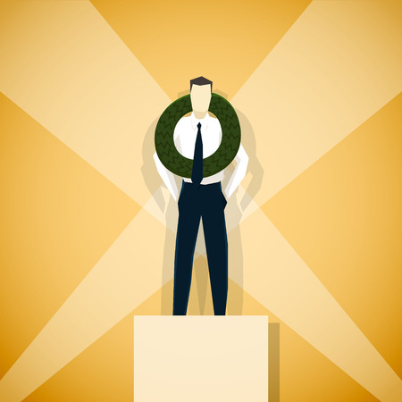 concurrence: Businessman winner of competition, is standing on pedestal. EPS 10 file