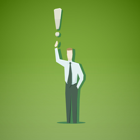 Businessman with exclamation mark. EPS 10 file Vector