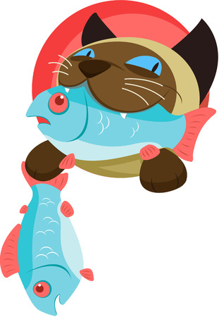 blue siamese cat: Vector illustration of Funny cat with fish Illustration
