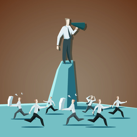 Businessman chief executive officer shouting commands through a megaphone and directs people. EPS 10 file.