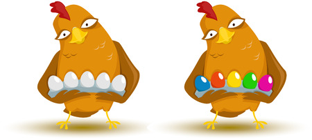 two animals: Vector illustration of Chicken with eggs Illustration