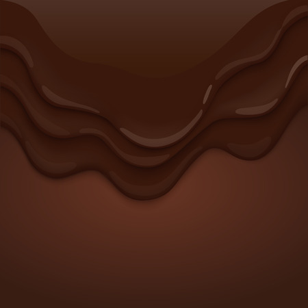 Chocolate is flowing down on brown background. EPS 10 file.
