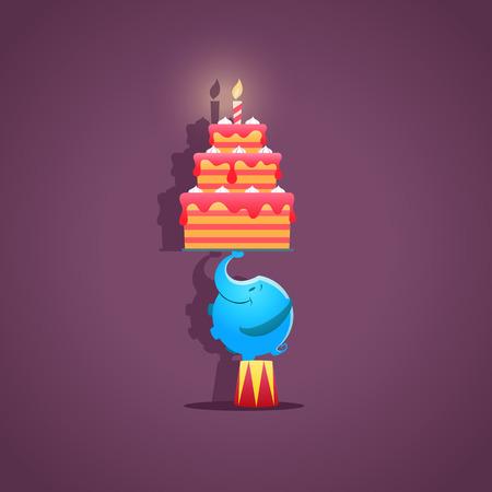 pastel de cumplea�os: Elefante de circo con un pastel de cumplea�os - vector. EPS 10 archivos Vectores