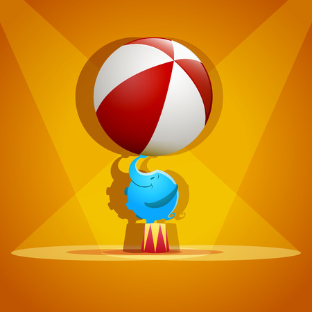 circus performers: Circus elephant with a striped ball stands on a scene - vector. EPS 10 file