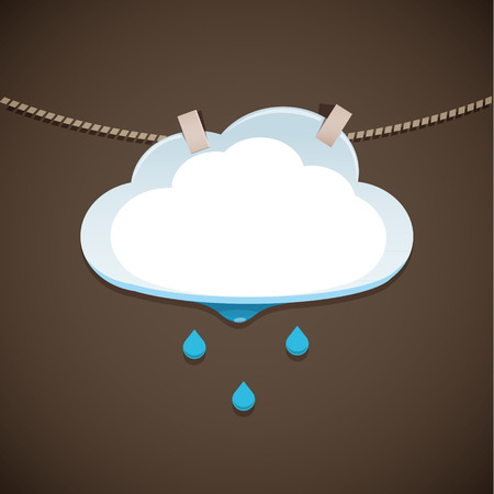 Cloud and Rain - The cloud dries on a rope. EPS 10 file Vector