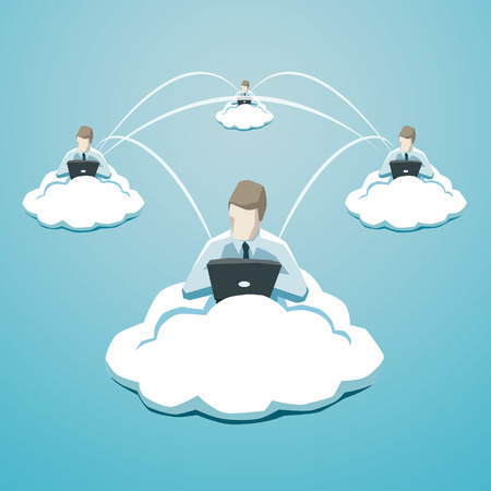 service center: Business use of cloud technology. EPS 10 file