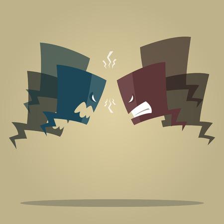 conflicto: Ilustración del vector de expresión de conflictos burbujas Vectores