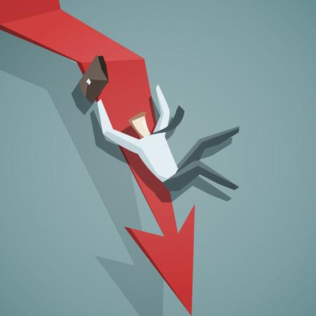 危機概念 - ダウン矢印グラフおよびビジネスマンは落ちています。EPS 10 ファイル  イラスト・ベクター素材