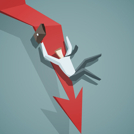 Crisis concept - Arrow graph going down and businessman is falling down. EPS 10 file Stock Illustratie