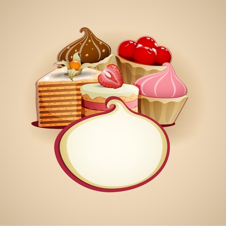 ready cooked: Square vector illustration of Delicious cakes background Illustration