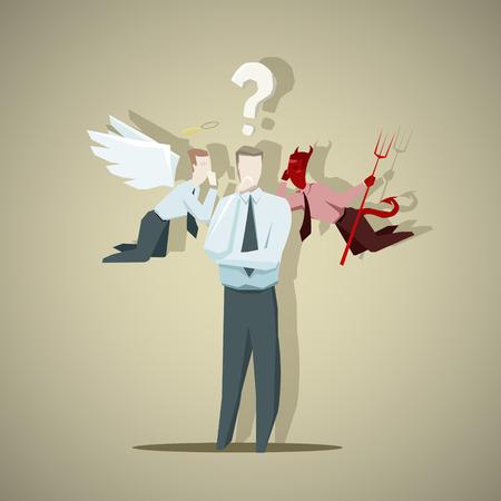 teufel und engel: Schwierige Entscheidung der Geschäftsmann. EPS 10-Datei