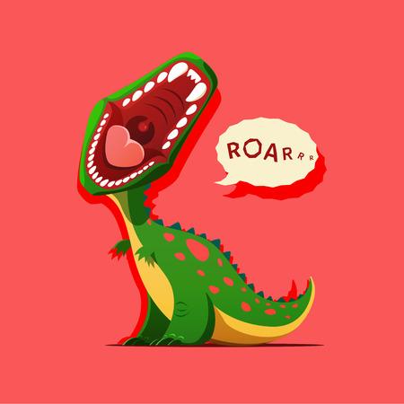 dinosaurio caricatura: Ilustración del vector del dinosaurio está rugiendo aislado