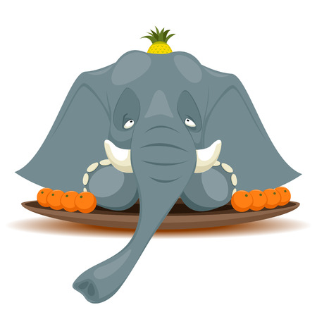 terribly: Vector illustration of Dish with elephant for terribly hungry