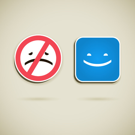 melancholy: Vector signs, a sign which is prohibits to be sad and sign which is calls to smile isolated