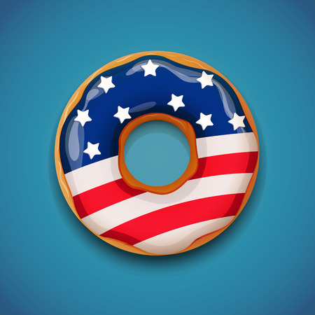 cake with icing: Independence day - Donut with flag of USA. EPS 10 file.