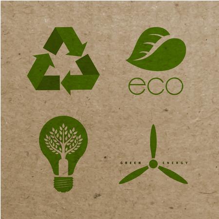 carton: Iconos ecológicos ambientales del vector en fondo de la cartulina. EPS 10 archivos