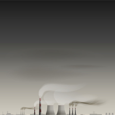 smoke stack: Environmental contamination vector background. EPS 10 file
