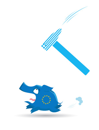 economy crisis: Vector illustration of  European banking and economy crisis concept