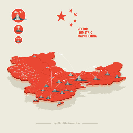china business: Vector isometric map of China with icons of the city, roads and routes of airplanes. EPS 10 file.
