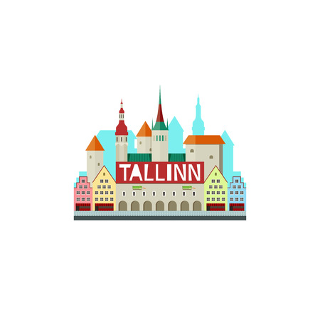 popular tales: Vector illustration of Tallinn Estonia with city hall and cute small houses isolated Illustration