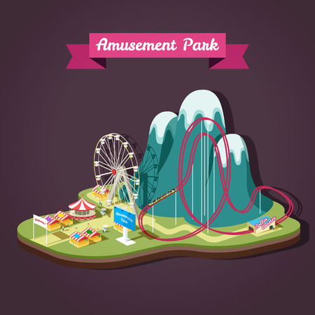 Vector isometric illustration of Amusement Park with different attractions. EPS 10 file.