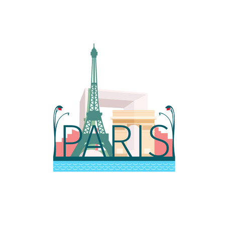 Vector illustration in flat style of Paris sights isolated Vector