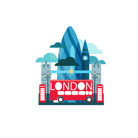 london bus: Vector illustration of London Great Britain with famous sights and raining weather isolated